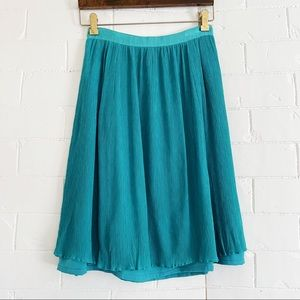 J. CREW Turquoise Flowy Lined Midi Skirt 2